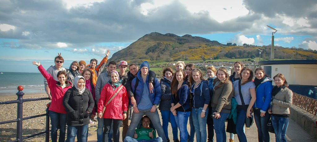 Student Group on English Study Holiday visiting the Dublin coastline