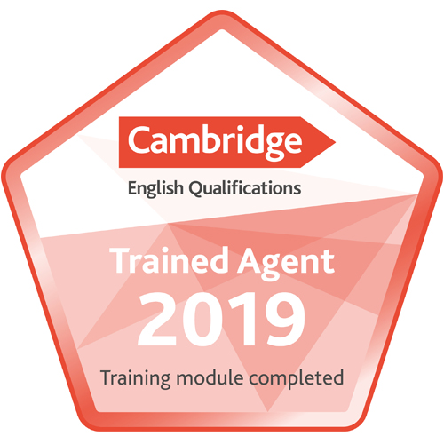 Badge showing DLTC is a Cambridge Trained Education Agent 2019